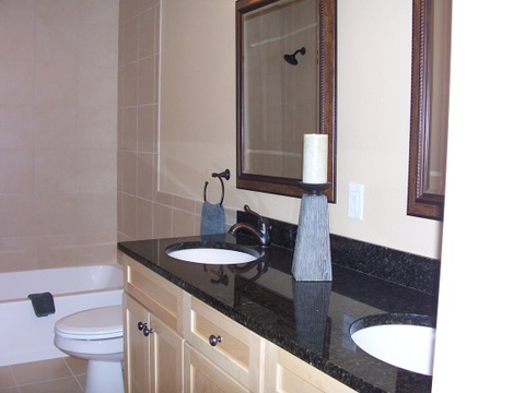 Bathroom vanity with double bowl