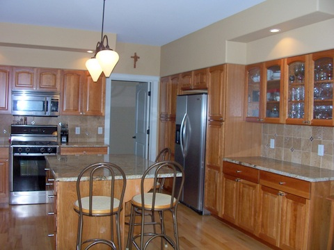 Cherry cabinets with island